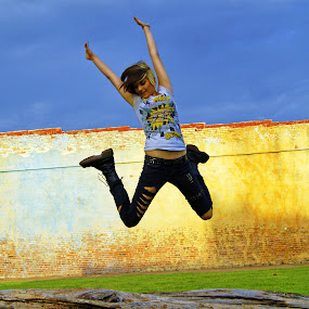 Jump! by Teresa Delcambre - People Fine Art ( girl, sky, teen, log, wall, leap, jump )