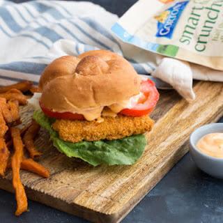 Crispy Fish Sandwich with Sriracha Mayo Dressing.
