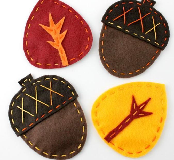 Fall-Themed Felted Coasters