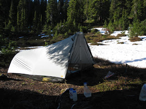 Photo: Campsite at Pear Lake - just a small space free of snow for the tent, and another small space where we pumped water out of the lake.
