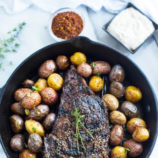 BRAZILIAN FLAIR STEAK WITH ROASTED BABY POTATOES