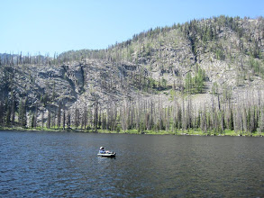 Photo: Fishing at Tiffany Lake. Caught four, threw back all but one brook trout, which we ate for dinner