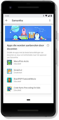 Mobiel scherm met door de docent aanbevolen apps