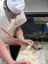 """Photo: All the staff are wearing traditional, elevated, wooden """"geta"""" shoes so they """"clack clack"""" around while they cook and serve. So cool."""