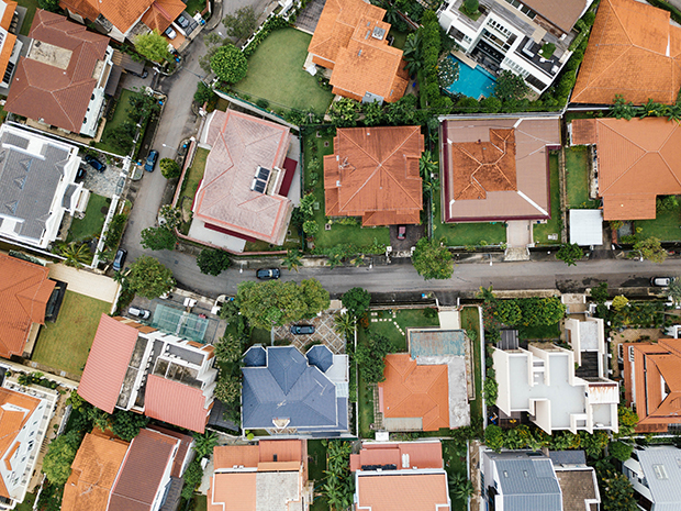 Birds-eye view of houses