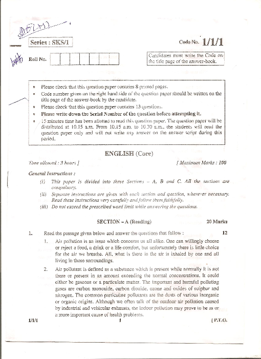 Sample of English Question Paper of Class 12th