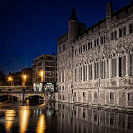 When the night comes by Kurt De Somviele - City,  Street & Park  Historic Districts ( water, reflection, old, architechture, street, stone, historic district, architecture, travel, historic, contrast, history, sky, blue, shadow, dark, architectural, grey, castle, buidling, light )