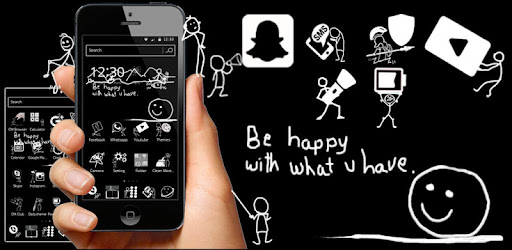 (APK) تحميل لالروبوت / PC Black and White Blackboard Theme تطبيقات screenshot