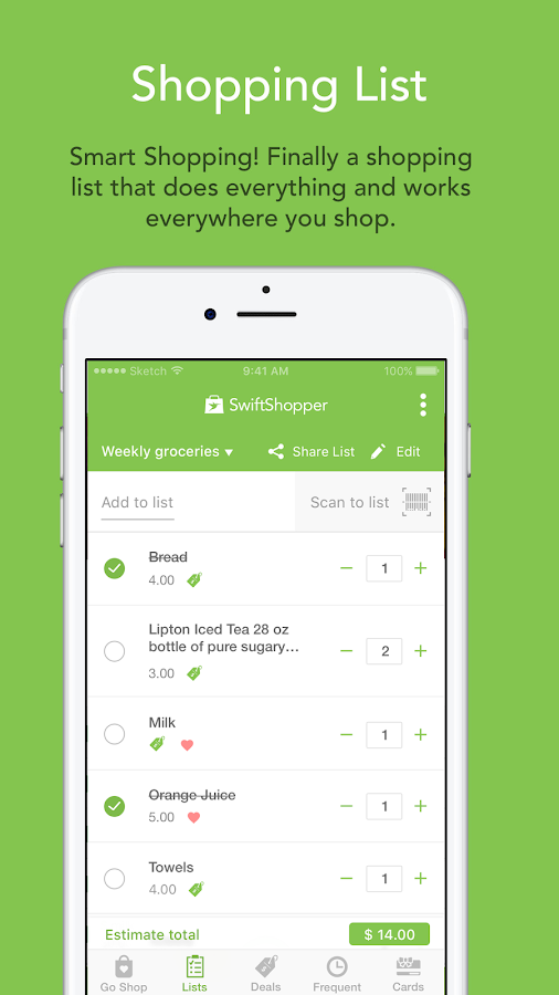 Swift Shopper - Shopping List- screenshot