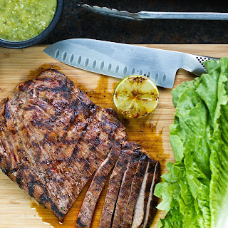 Grilled Fajita Lettuce Wraps with Tomatillo Salsa