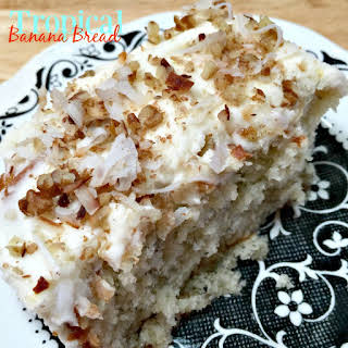 Tropical Banana Bread with Cream Cheese Frosting.