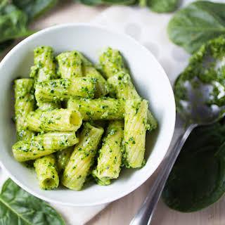 Rigatoni With Spinach And Walnut Pesto.