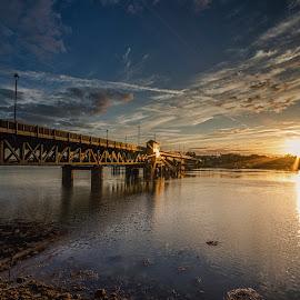 Walney Bridge Sunset by Graham Kidd - Buildings & Architecture Bridges & Suspended Structures ( clouds, water, sunset, bridge, dusk )