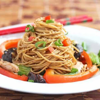 Stir-Fry Noodles with Chicken, Shitake Mushrooms and Chinese Vegetables.