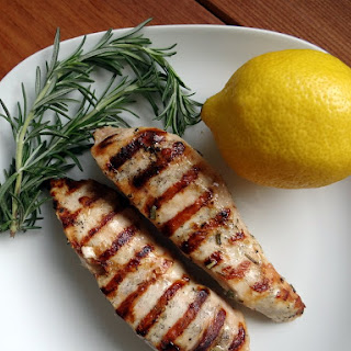 Grilled Lemon Garlic Rosemary Chicken Breasts.