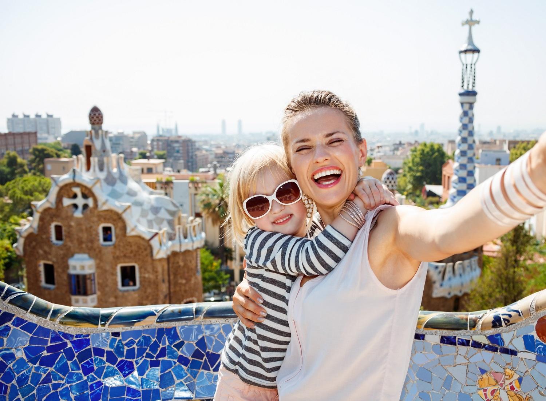 viaje en familia en Park Güell en Barcelona