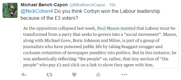 Tweet to Nick Cohen about Corbyn and £3 voters.png