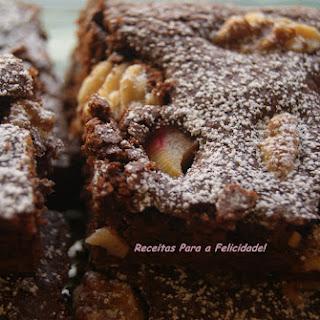 Chocolate Brownies with Walnuts and Rhubarb.