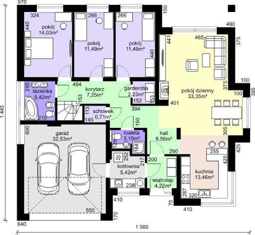 Dom przy Pastelowej 2 - Rzut parteru