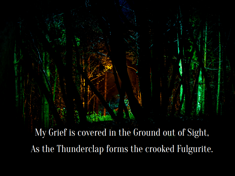 An enchanted bit of forest, colored lights in dark trees, with the words: My Grief is covered in the Ground out of Sight, As the Thunderclap forms the crooked Fulgurite.