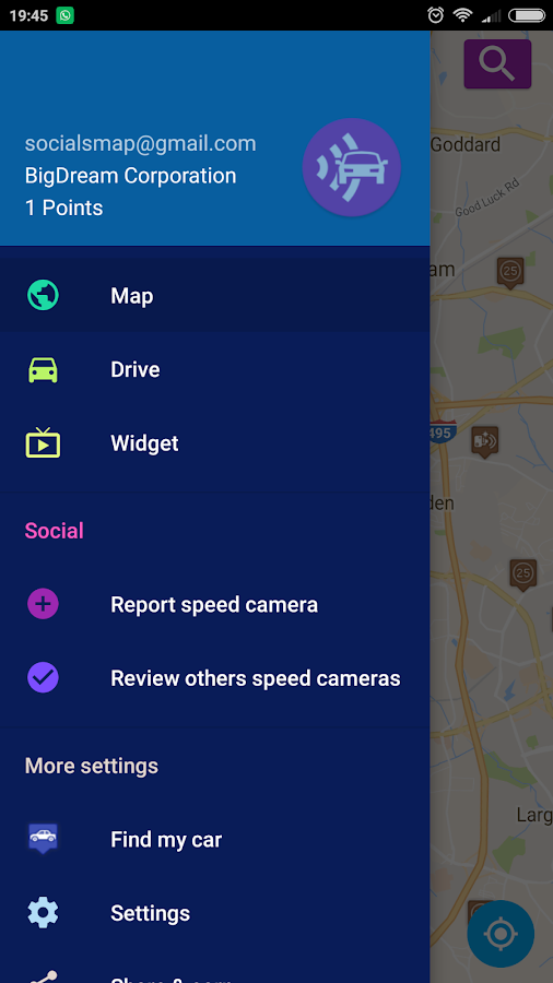 Speed camera radar- screenshot