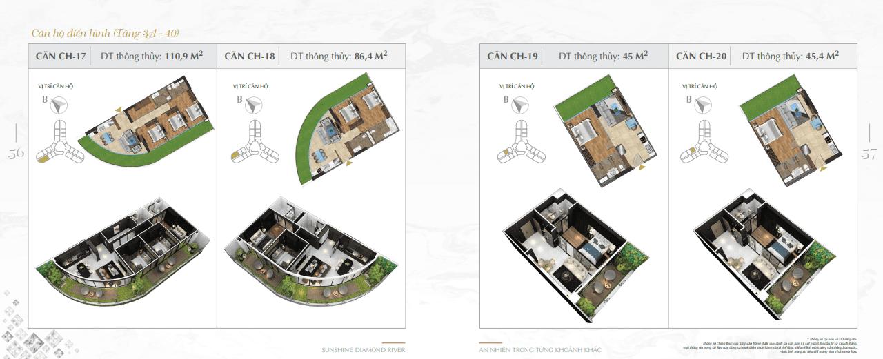 mặt bằng thiết kế căn hộ sunshine diamond river