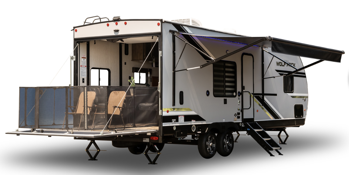 The Forest River Cherokee Wolf Pack 27Pack10 Toy Hauler is a family-friendly RV that is 33 feet long.