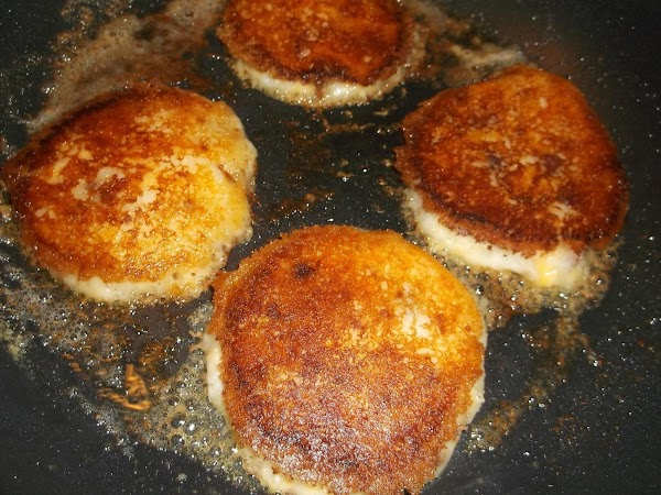 Fry the first side for approximately 5 minutes, until golden brown; carefully turn pancakes...