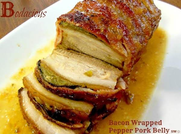 Bodacious Bacon Wrapped Pepper Pork Belly Recipe