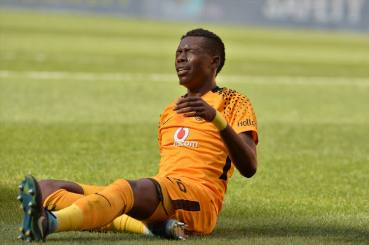 Kaizer Chiefs' Zimbabwean defenderTeenage Hadebe in pain during the Absa Premiership match against Chippa United at FNB Stadium on April 07, 2018 in Johannesburg, South Africa.