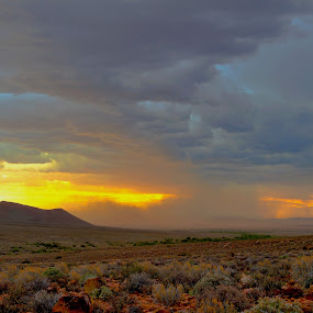 Thunder storm over the Karoo by Johan Mocke - Landscapes Weather ( karoo, clouds, storm, rain )