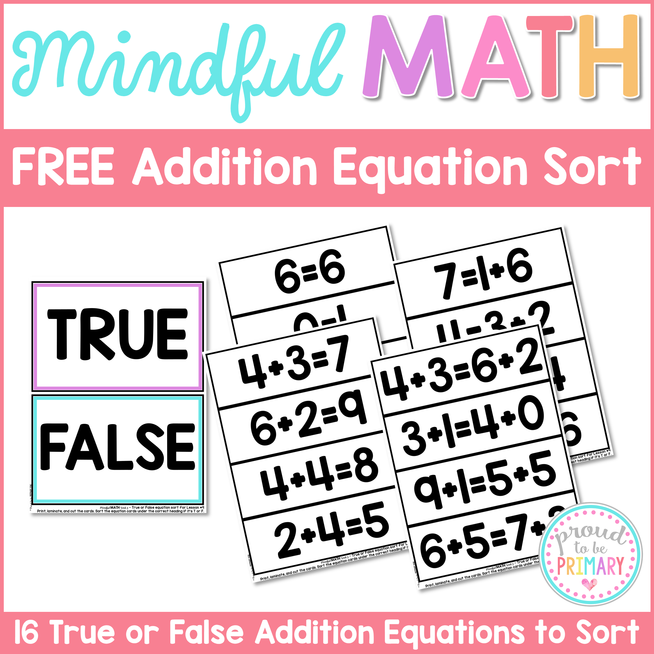 addition and subtraction activities for kids - free addition equation sort