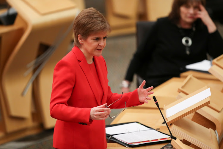 Scottish First Minister Nicola Sturgeon speaks at parliament in Edinburgh, Scotland, January 19 2021. Picture: REUTERS/RUSSELL CHEYNE