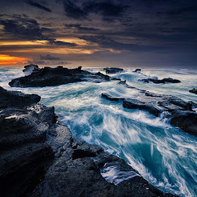 Angry Mengening by Eggy Sayoga - Landscapes Waterscapes ( bali, sunset, indonesia, wave, mengening, motion, dusk )
