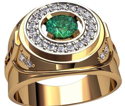 мужской перстень из золота с изумрудом фото