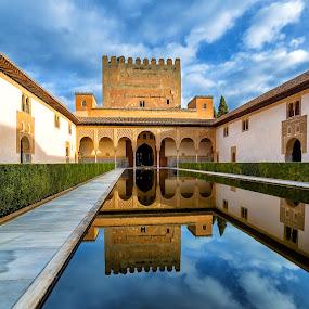 Alhambra reflections by Torsten Funke - Buildings & Architecture Public & Historical ( canon, eos, sky, andalucia, alhambra, reflections, eos6d, architecture, spring, granada, spain )