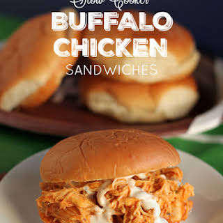 Slow Cooker Buffalo Chicken Sandwiches.