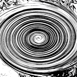 circle in circle by Edward Gold - Digital Art Abstract ( abstract art, circles in circles, twisted, abstract, black and white, circle,  )