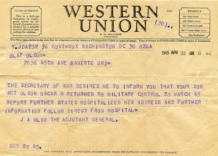 Telegram from the Army to Oscar's parents dated April 30, 1945