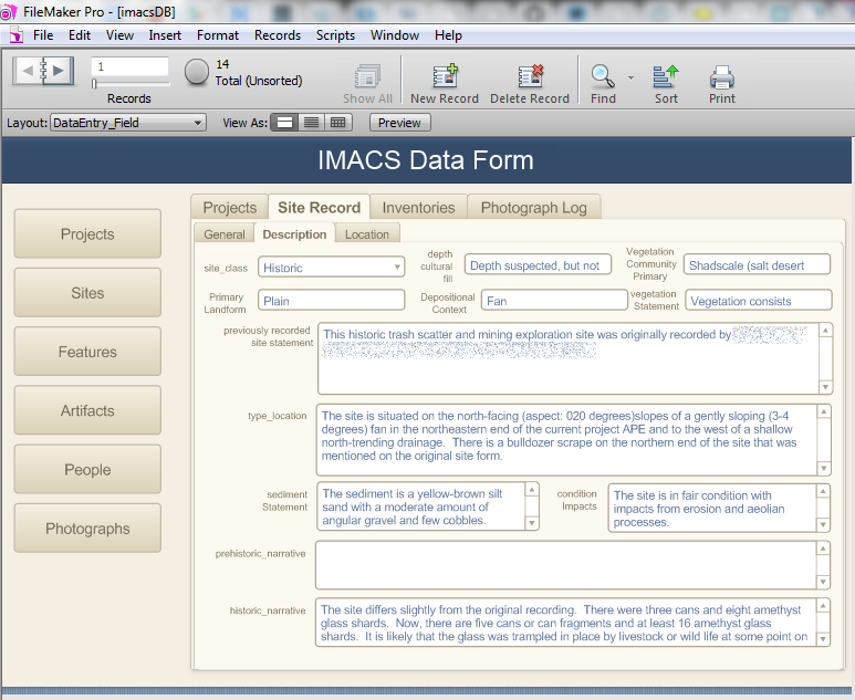 Building an archaeology data recording app day of for Filemaker go templates