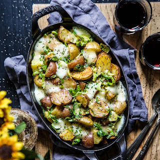 Roasted Baby Potato Brussels Sprout Poutine.