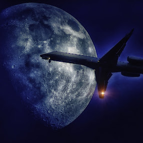 Lunar FlyBy by Philippe Smith - Transportation Airplanes ( moon, airplane, night, photo, lunar )