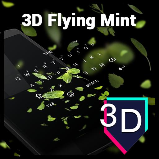 3D Flying Mint Keyboard Theme