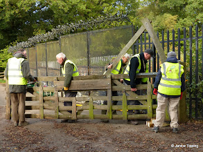 Photo: The repaired gate being slotted back into place.  Not an easy task.