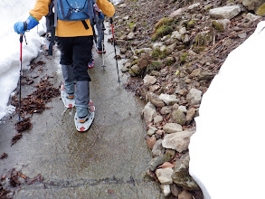 林道の雪解け水の上を歩く