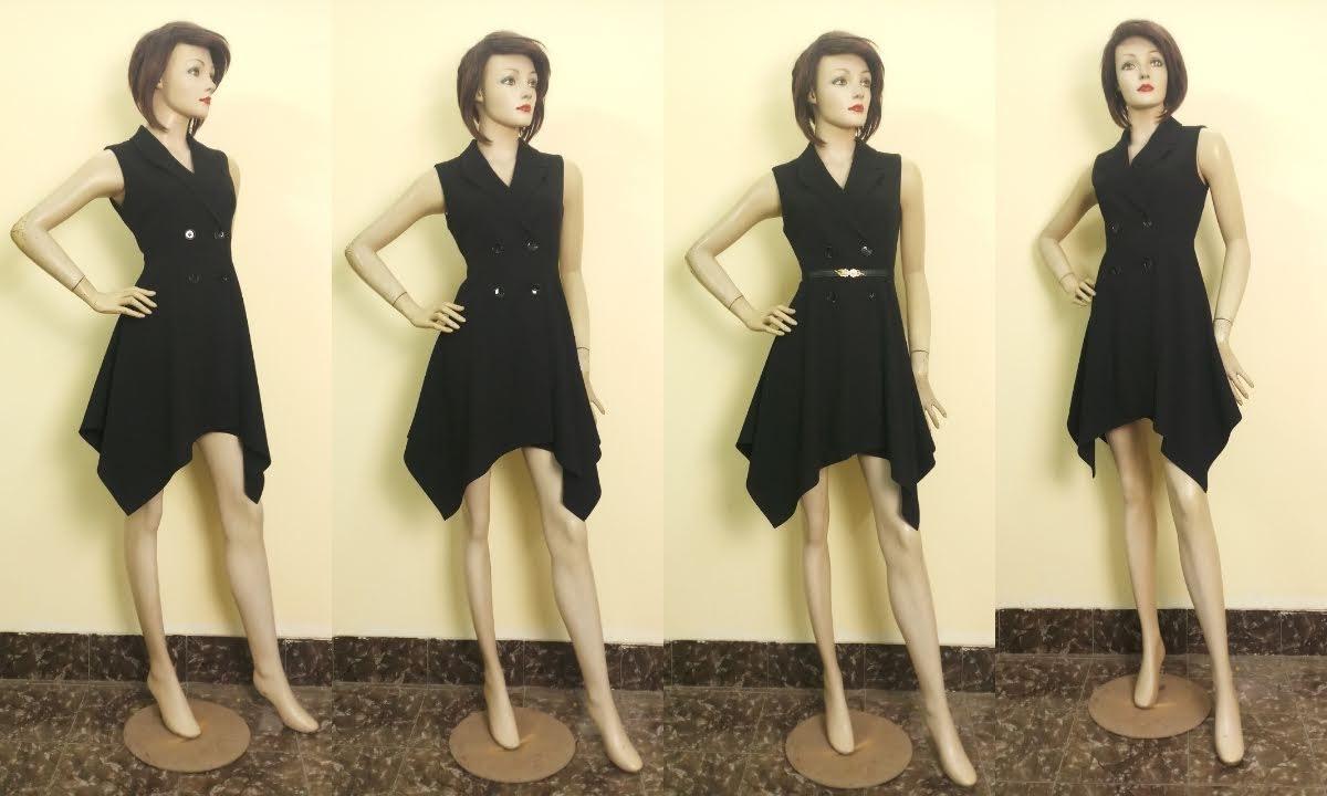 Váy xòe vạt lệch cổ vest nữ mặc dự tiệc V670 thời trang thủy