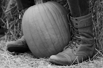 Photo: Boots and a pumpkin