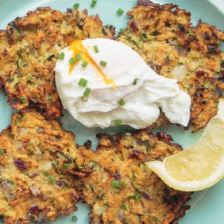 Zucchini & Sweet Potato Fritters with Poached Eggs