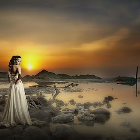 Dead sea, sunset,Israel,sea, water,dress,bride, by Victor Vertsner - Wedding Bride ( sunset, dead sea, israel )