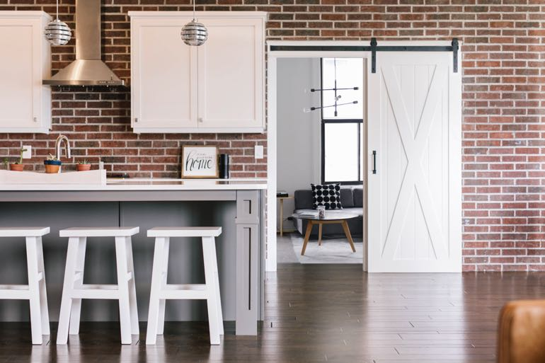 Oklahoma City modern kitchen barn door
